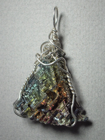 Bismuth Metal Crystal Pendant Wire Srapped .925 Sterling Silver