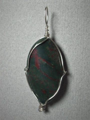 Bloodstone Bead Pendant Wire Wrapped .925 Sterling Silver - Jemel
