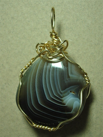 Botswana Agate Pendant Wire Wrapped 14/20 Gold Filled - Jemel