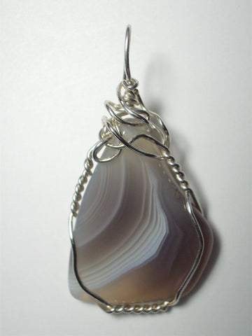 Botswana Agate Pendant Wire Wrapped .925 Sterling Silver
