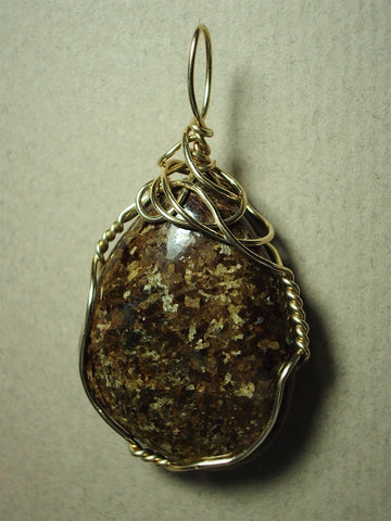 Bronzite Pendant Wire Wrapped 14K/20 Gold Filled