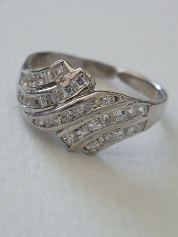 Sterling Silver Ring with Channel Set Cubic Zirconia
