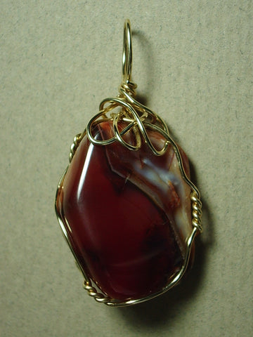 Carnelian Pendant Wire Wrapped 14/20 Gold Filled