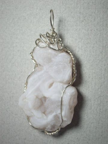 Druzy Quartz Chalcedony Pendant Wire Wrapped .925 Sterling Silver