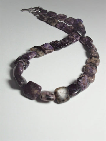 Charoite Bead Necklace 17.5 '' with 12mm x12mm Rounded Square Beads
