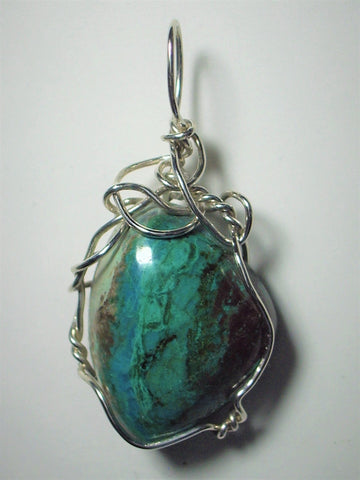 Chrysocolla Jewelry - Chrysocolla Pendant Wire wrapped .925 Sterling Silver
