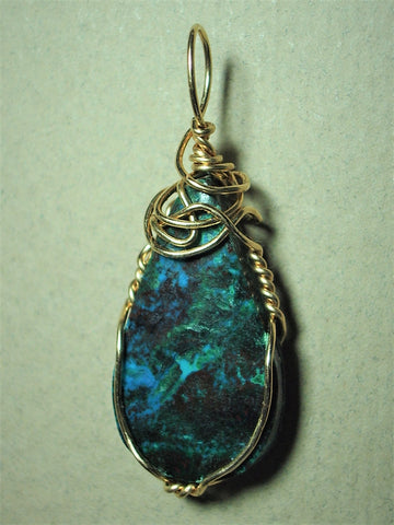 Chrysocolla Cuprite Malachite Cabochon Pendant Wire Wrapped 14K/20 Gold Filled - Jemel