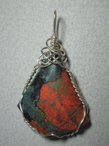 Sonoran Sunrise/Sunset Chrysocolla Cuprite Cabochon Pendant Wire Wrapped .925 Sterling Silver