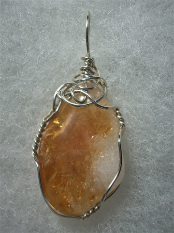 Citrine Pendant Wire Wrapped  .925 Sterling Silver - Jemel
