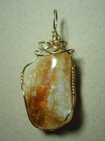 Citrine Pendant Wire Wrapped 14/20 Gold Filled