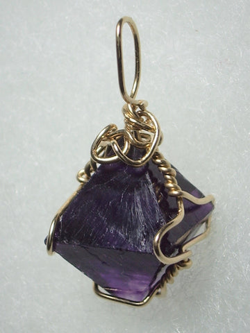 Fluorite Octahedron Crystal Pendant Wire Wrapped 14/20 Gold Filled