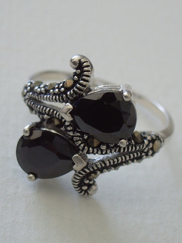 Sterling Silver Ring w/2 Faceted Pear Hematite Stones Marcasite Accents - Jemel