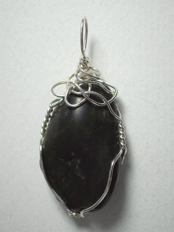 Nephrite Jade Pendant Wire Wrapped .925 Sterling Silver