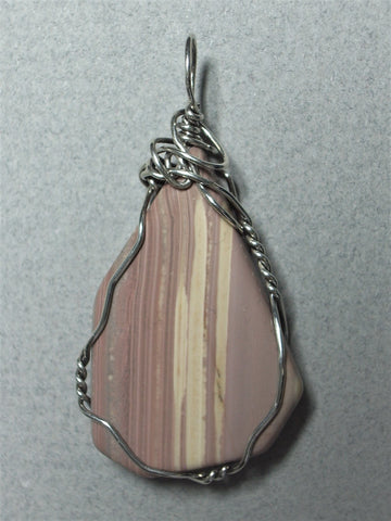 Banded Jasper Pendant Wire Wrapped .925 Sterling Silver
