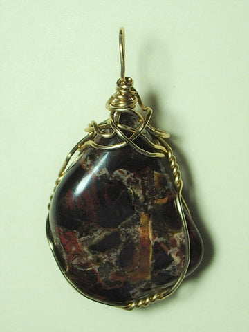 Brecciated Jasper Pendant Wire Wrapped 14/20 Gold Filled - Jemel