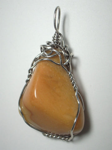 Yellow Jasper Pendant Wire Wrapped .925 Sterling Silver
