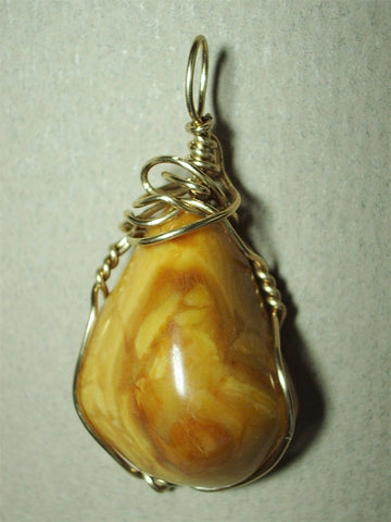 Yellow Jasper Stone Pendant Wire Wrapped 14/20 Gold Filled - Jemel