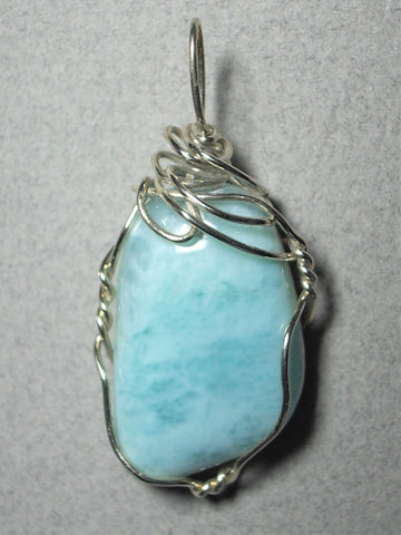 Larimar Pendant Wire Wrapped .925 Sterling Silver