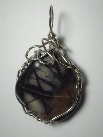 Picasso Marble Pendant Wire Wrapped .925 Sterling Silver