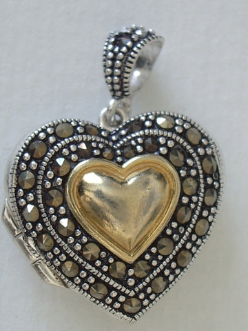 Silver Jewelry -STERLING SILVER AND MARCASITE HEART LOCKET