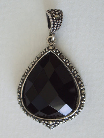 Black Onyx Cushion Faceted Teardrop with Marcasite Pendant - Jemel