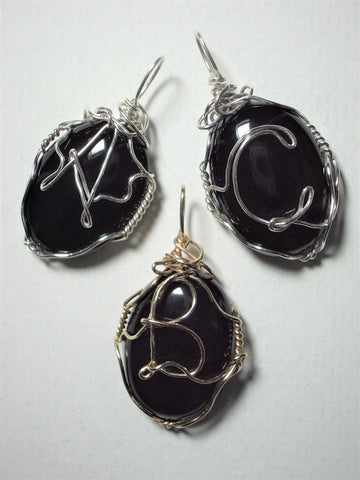 A B C Monogram Letter Wire Wrapped Black Onyx Cabochon Pendants with Letter Examples