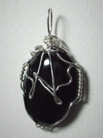 Monogram Letter Wire Wrapped Black Onyx Cabochon Pendant Sterling Silver or Gold Filled
