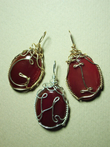 Monogram Letter Wire Wrapped Carnelian Cabochon Pendant Sterling silver or Gold Filled GHI