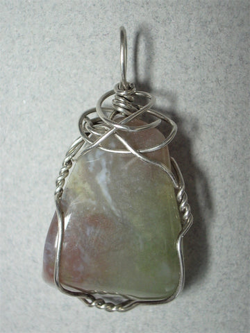 Moss Agate Pendant Wire Wrapped .925 Sterling Silver