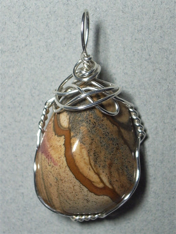 Picture Jasper Pendant Wire Wrapped .925 Sterling Silver