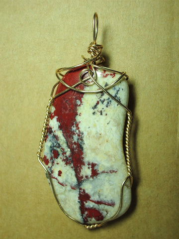 Pigeon Blood Jasper Pendant Wire Wrapped 14/20 Gold Filled