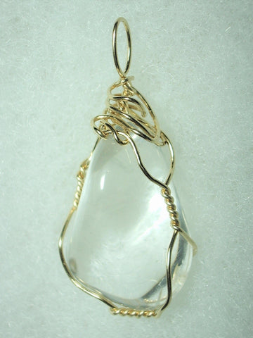 Clear Quartz Stone Pendant Wire Wrapped 14/20 Gold Filled