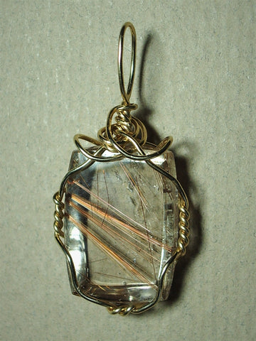 Rutilated Quartz Cabochon Pendant Wire Wrapped in 14/20 Gold Filled Round Wire - Jemel