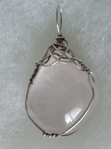 Rose Quartz Stone Pendant Wire Wrapped .925 Sterling Silver - Jemel