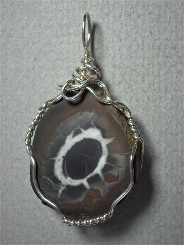 Moroccan Septarian Nodule Pendant Wire Wrapped .925 Sterling Silver - Jemel