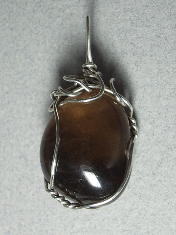 Smoky Quartz Pendant Wire Wrapped .925 Sterling Silver