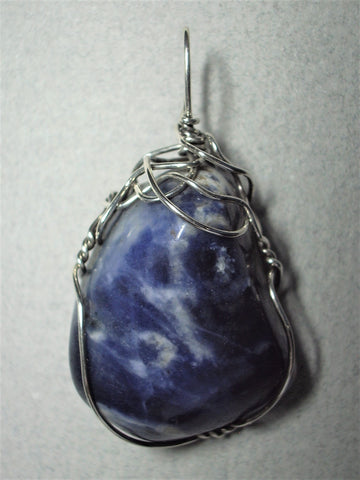 Sodalite Pendant Wire Wrapped .925 Sterling Silver