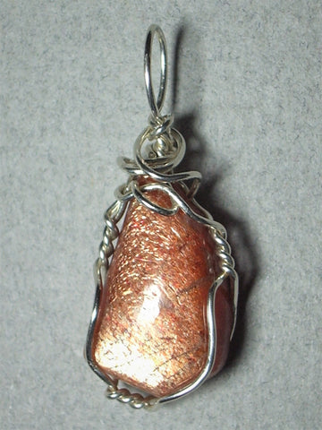Sunstone Cabochon Pendant Wire Wrapped .925 Sterling Silver - Jemel