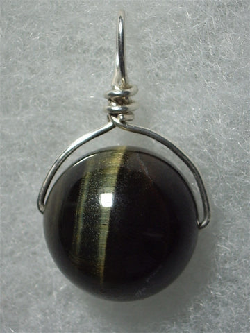 Variegated Tiger's Eye Bead Pendant Wire Wrapped .925 Sterling Silver - Jemel