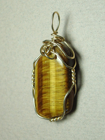 Golden Tiger's Eye Jewelry - Golden Tiger's-Eye Pendant Wire Wrapped14/20 Gold Filled