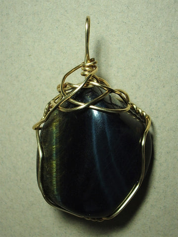 Blue Tiger's-Eye Pendant Wire Wrapped 14/20 Gold Filled