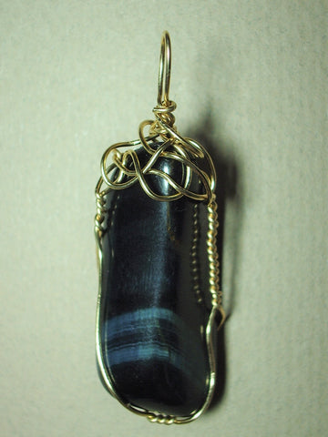 Blue Tiger's-Eye Stone Pendant Wire Wrapped 14/20 Gold Filled - Jemel