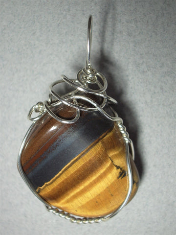 Golden Tiger's-Eye Pendant Wire Wrapped .925 Sterling Silver