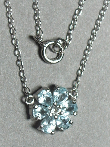 "Blue Topaz Flower Pendant w/ 18"" 1.5 mm Sterling Silver Cable Chain - Jemel"