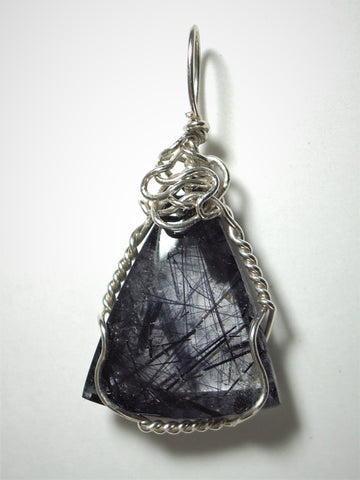 Tourmalinated Quartz Cabochon Pendant Wire Wrapped Sterling Silver