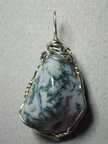 Tree Agate Pendant Wire Wrapped .925 Sterling Silver