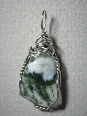 Tree Agate Stone Pendant Wire Wrapped .925 Sterling Silver - Jemel