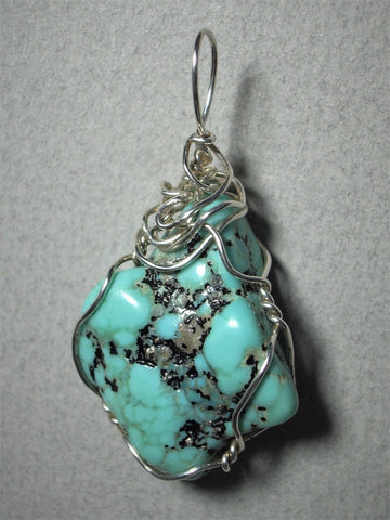 Turquoise Nugget Pendant Wire Wrapped .925 Sterling Silver - Jemel