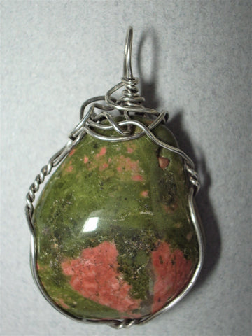 Unakite Pendant Wire Wrapped .925 Sterling Silver