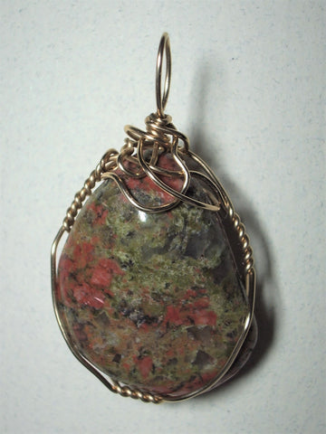 Unakite Pendant Wire Wrapped 14/20 Gold Filled